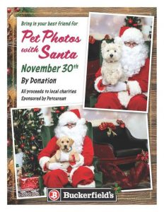 NOVEMBER 30 Holiday Photos with your pet and Santa